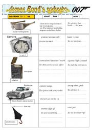 English Worksheets: James Bond�s gadgets