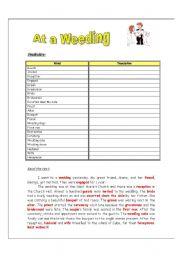 English worksheet: At a weeding