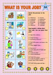 English Worksheets: What is your job? Part 3 A