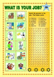 English Worksheets: What is your job? Part 3 B + KEY