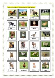 English Worksheet: farm animals and their babies pictionary