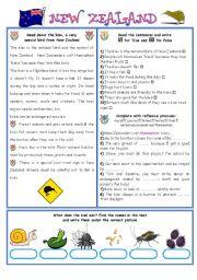 English Worksheet: ENGLISH-SPEAKING COUNTRIES (10) NEW ZEALAND/EXERCISES (2 pages)