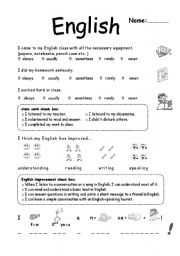 English Worksheet: self evaluation 6th grade