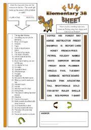 English Worksheet: Fun Sheet Elementary 38