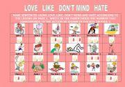 English Worksheets: LOVE LIKE DON�T LIKE HATE