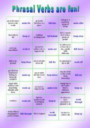 Phrasal Verb domino - Verbs: KEEP - MAKE - FALL - WORK