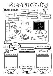 English Worksheet: I can draw! (series) - school