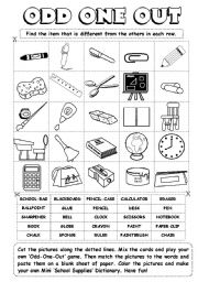 English Worksheet: Odd-One-Out (series) - school supplies