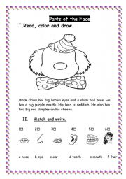 English Worksheets: the face