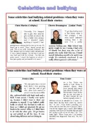 English Worksheet: (Part 1) Celebrities and bullying