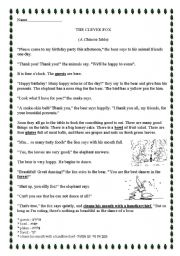 English Worksheets: The clever fox