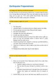 English Worksheet: Earthquake Preparedness