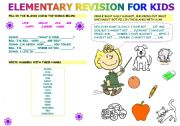 English Worksheets: elementary revision for kids