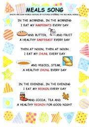 English Worksheet: meals - song worksheet