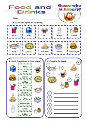 English Worksheet: Food and drinks