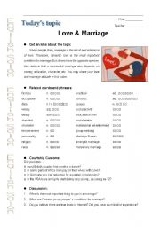 English Worksheet: love and marriage