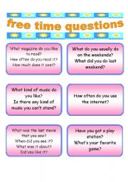 English Worksheet: 46 conversation cards about free time