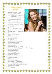 English Worksheets: 7 Things- Miley Cyrus (Hannah Montana)