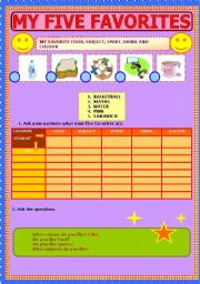 English Worksheets: My five favorites (part 1 of 2)