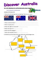 English Worksheet: Discover Australia - A webquest