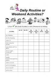 English Worksheet: Daily Routine or Weekend Activities?