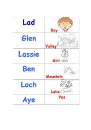 English Worksheets: Scottish Words- matching cards