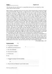 English Worksheets: comprehension de texte