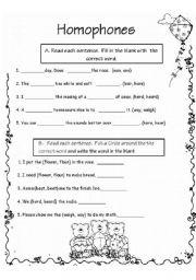 English Worksheet: Homophones and Possessives worksheet Duo