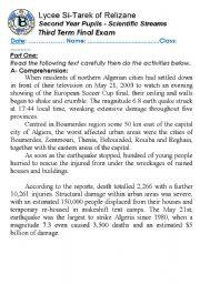English Worksheet: Earthquakes: Boumerdes Nightmare of May 21, 2003. (Author-Bouabdellah)