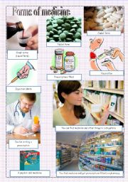 English Worksheet: Forms of medicine - pictionary