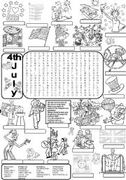 English Worksheets: Wordsearch 4TH JULY