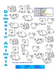 English teaching worksheets Domestic animals