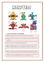 English Worksheet: MONSTERS