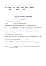 English Worksheets: you are beautiful as you are
