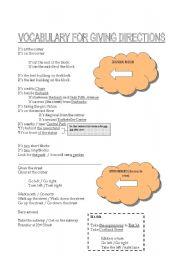 English Worksheet: Giving Directions Vocabulary -- Basic