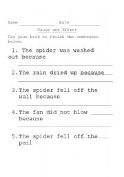 English Worksheet: Cause and Effect: The Itsy Bitsy Spider