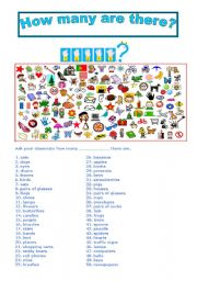 English Worksheet: GAME: HOW MANY ARE THERE?