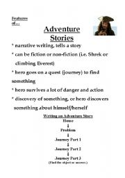 English Worksheets: Adventure Stories: Reading and Writing