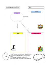 English Worksheet: Parts of Speech: Shape Poems Organizer