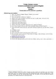 English Worksheets: Trinity Grade 1: Questions. Graded Examinations in Spoken English