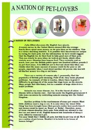 English Worksheet: PET-LOVERS- A THEMATIC UNIT PLAN INCLUDING RELATED READING PASSAGE AND COMPREHENSION QUESTIONS + ANSWER KEY - A NATION OF PET-LOVERS :)