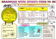 English worksheet: EASY GRAMMAR WITH SPIDEY! - VERB TO BE (present tense) - FUNNY GRAMMAR-GUIDE FOR YOUNG LEARNERS IN A POSTER FORMAT (part 11)