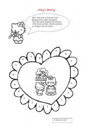 English Worksheet: hello kitty�s family, clothes and colors