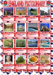 English Worksheet: England pictionary plus written practice of the attractions´names