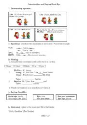English Worksheets: Introduction and saying good-bye