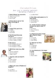 English Worksheet: Celebrities: Are you a gossip person