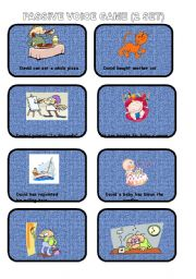 Passive voice cards for a game (2 set)
