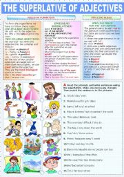 English Worksheet: THE SUPERLATIVE OF ADJECTIVES (TWO PAGES)