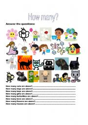 English Worksheets: How many? Answer the questions. Use there to be and numbers.