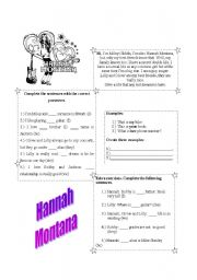 English Worksheet: Hannah Montana